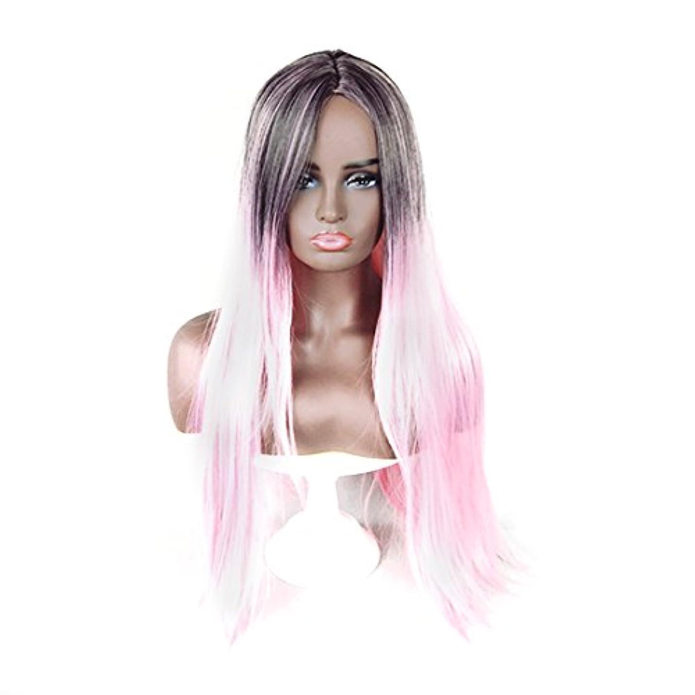 チョーク百年教養があるJIANFU 合成 長い ストレート ヘア カラー グラデーション フル ウィッグ女性 ロングバンズ 耐熱 コスプレ/パーティー (Color : Black Gradient Light Pink)
