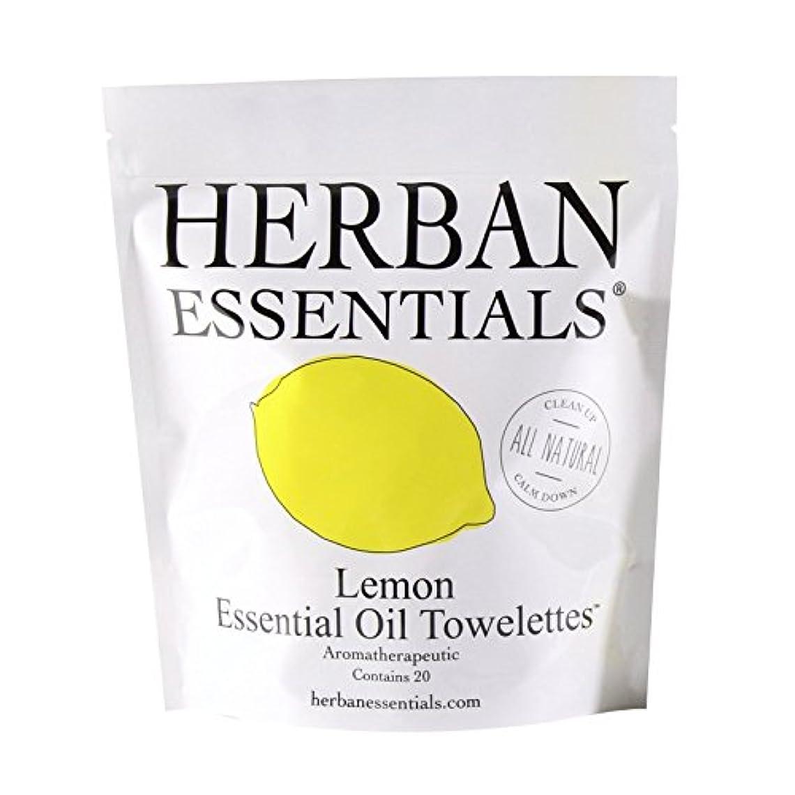 アルファベット参加する種ハーバンエッセンシャルズ アロマタオル レモン (個包装20枚入り)