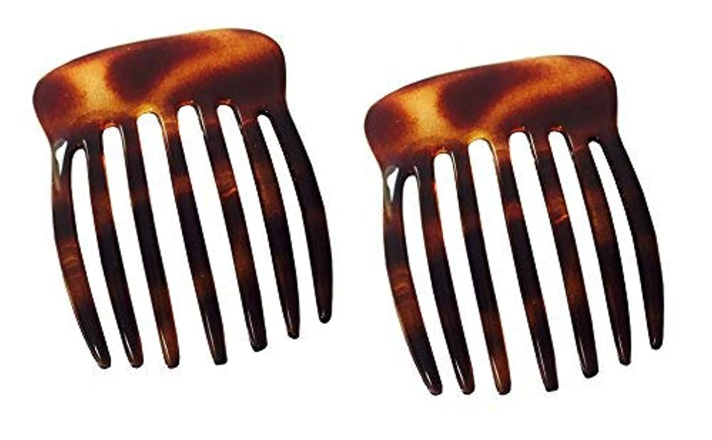不健康半球丘Parcelona French Fingers Seven Teeth Large 2 Pieces Celluloid Acetate Tortoise Shell Hair Side Hair Combs [並行輸入品]