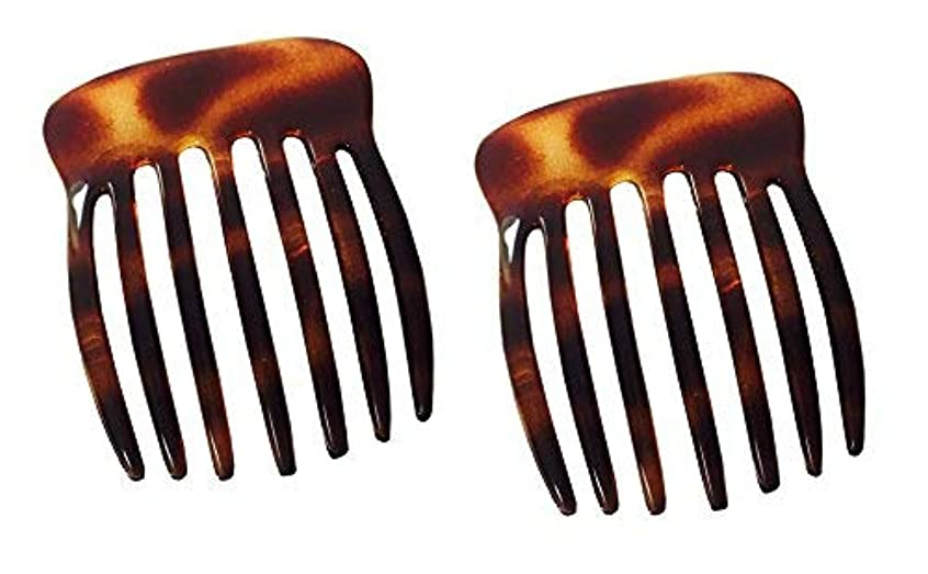 Parcelona French Fingers Seven Teeth Large 2 Pieces Celluloid Acetate Tortoise Shell Hair Side Hair Combs [並行輸入品]