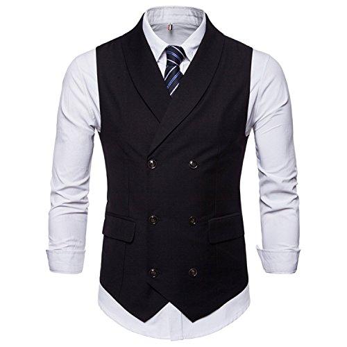 LY-Vigor ダブルブレスト スーツ ベスト メンズ ジレベスト ビジネス フォーマル フィット 無地 スリムフィット ブレザー 風