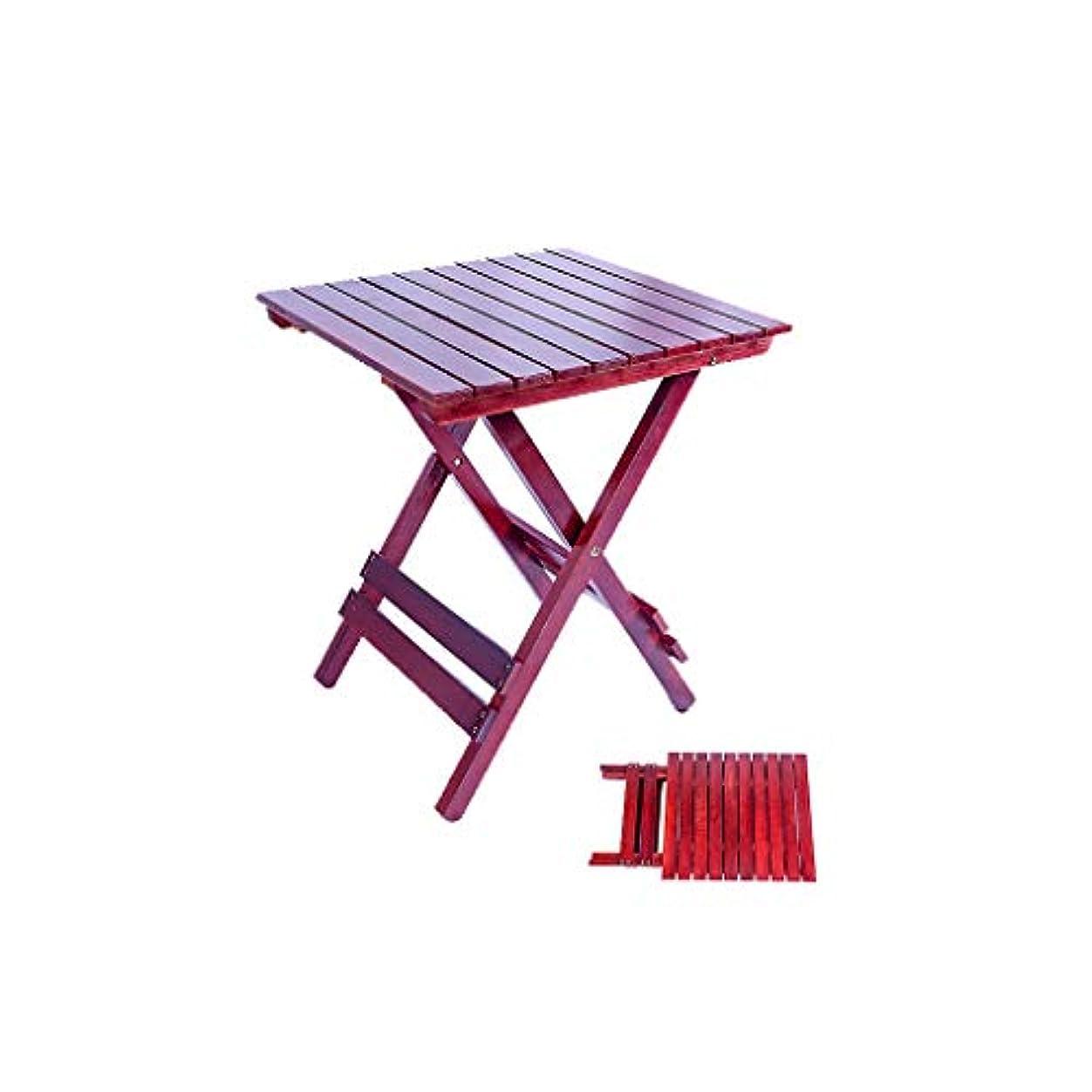 指標フォーク古風なPingFanMi 便利で実用的な小さな正方形のテーブル、ホームデスク、ダイニングテーブル、純木、環境衛生(53 * 45.6 * 42 cm) (色 : 赤ワイン)