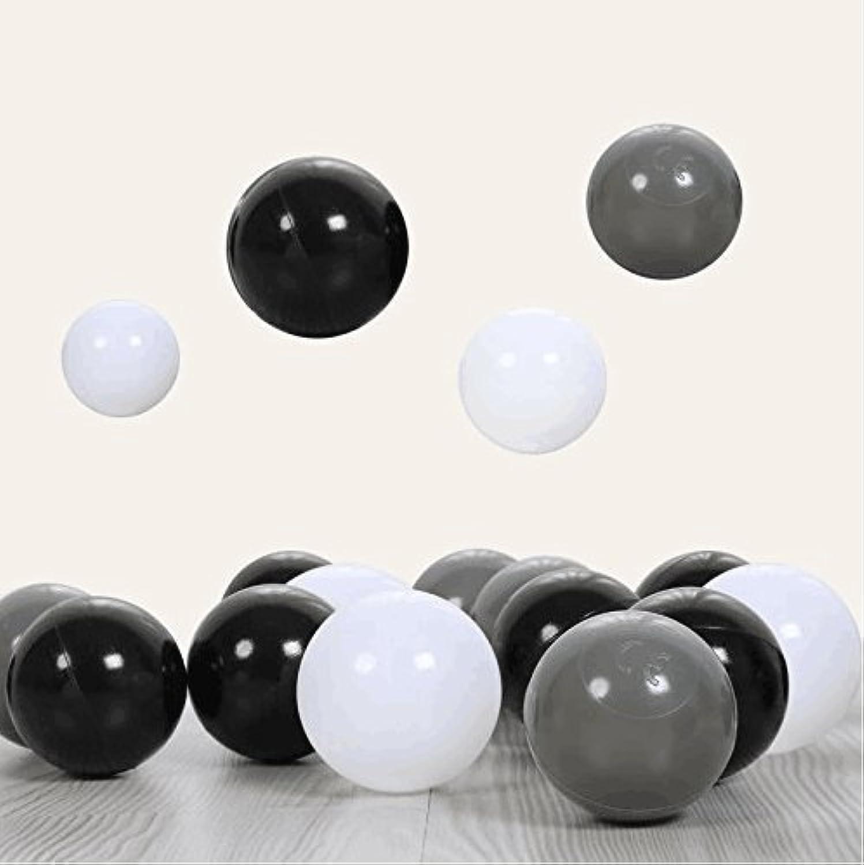 playmaty 150ピースカラフルなPit Ballsプラスチック海洋ボールCrush Proof Stressボール子供のPlayhouseプールボールピットアクセサリー2.1インチホワイトブラックグレー