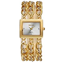ZHANGZZ 美しいSKONE時計 Weiqinレディース時計ファッションスクエアブレスレット時計ゴールド時計 (Color : 1)