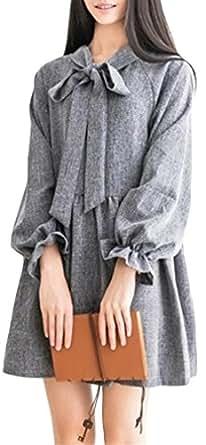 (フムフム) fumu fumu ワンピース 学院風 優等生 女子学生 清楚 スタイル スウィート ふんわり 美少女 甘カワ お嬢様 ガール グレー 灰 S M L XL (2:グレー M)