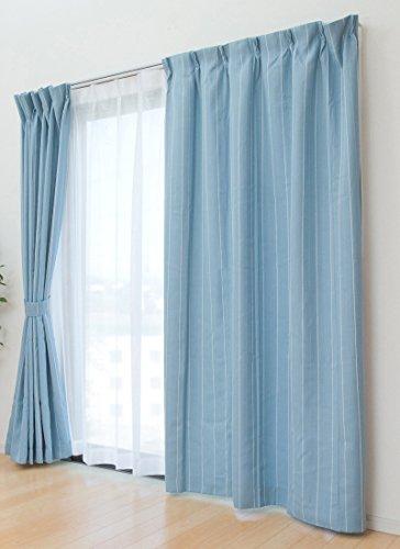 風通織 遮光 洗える ドレープ&レースカーテンセット『 フロル 』【IT】【tm】幅150×丈210cm ブルー(#9810731) 2枚組 選べる4色、10サイズ展開