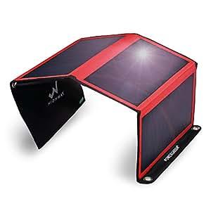 PowerGreen ソーラーチャージャー 2usbポート 防水 iPhone iPad等パワーバンク アウトドア 赤