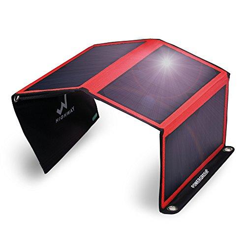 PowerGreenR 21W ソーラーチャージャー/パネル 2usbポート 防水 iPhone iPad等パワーバンク アウトドア 赤