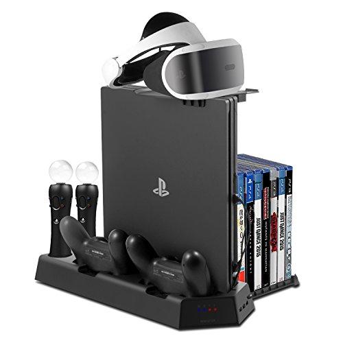 PS4 スタンド- VRスタンドPS4PS4 PRO PS4 SLIM縦置きスタンド PS4ディスク収納14枚 コントローラー2台充電 USBハブ3ポート 冷却ファン付き 最新版