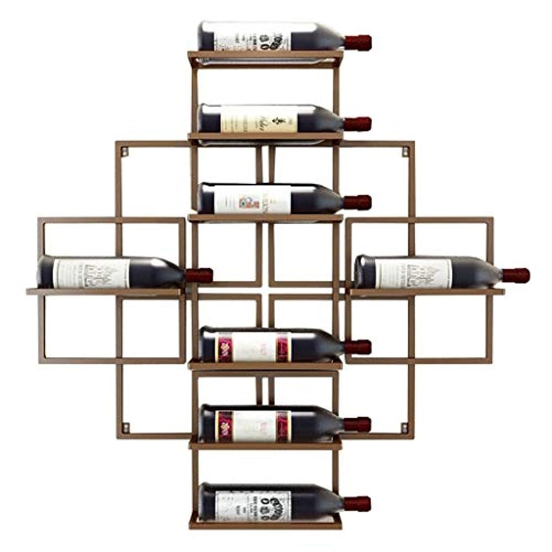 学ぶ練習ペンワインボトルホルダー金属鉄ワイン機器収納棚をぶら下げ壁掛けワインラック-8ワインボトルを保持-3色利用可能、80x10x80cm(色:赤銅)