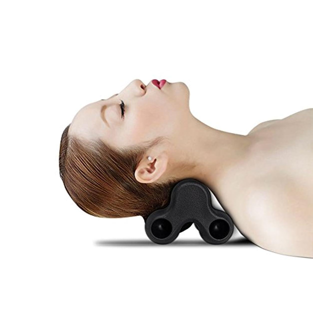 奨励望ましい中庭SYNC ツボ押し グリグリ 強力 マッサージ 枕 指圧感 ピロー ツボ 多用途 (ブラック)