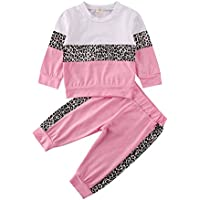 BOIZONTY Toddler Baby Girls Leopard Print Outfits Fall Winter Clothes Pullover Sweatshirt Tops + Long Legging Pants Tracksuit