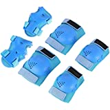 Fansport 6PCS Kids Protective Gear Set Knee Pad Elbow Pad Wrist Pad for Cycling Skateboarding