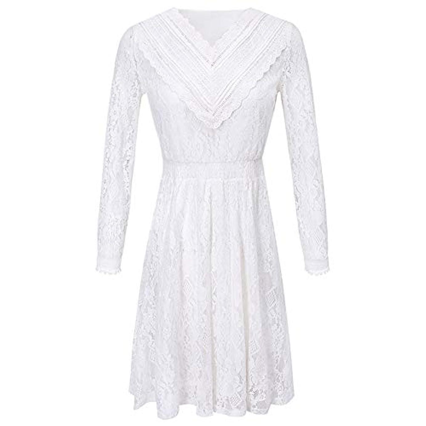 狂人財布残忍な女性のレースのドレス - 透かし無地長袖スカート - レディースホワイト気質シックな女性のウエディングドレス