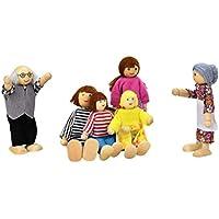パペット、子供elevin ( TM )子供男の子女の子6 Dolls Cartoon Wooden House Family People Pretend Playギフトおもちゃ