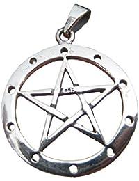 925スターリングシルバーウィッカペンタグラムペンダントネックレスA25 Silver Pentagram Pendant