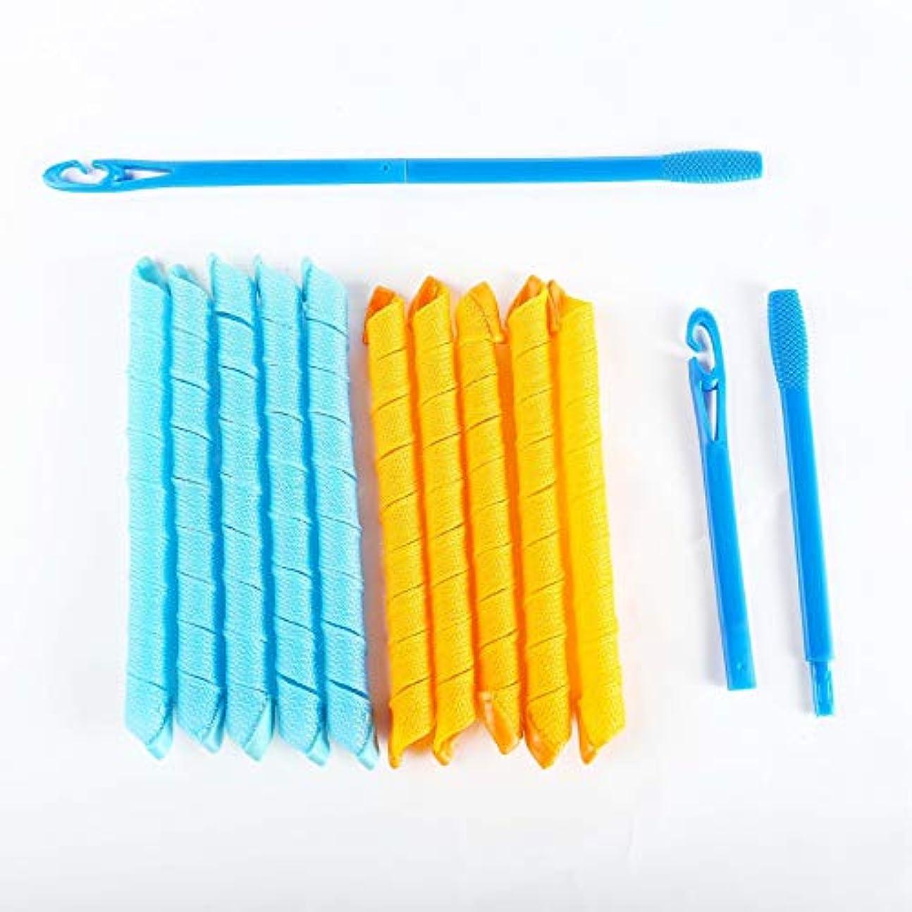 精緻化関係する冷凍庫AFAEF HOME 髪カーラースパイラルカール、29インチ(74センチ)の長に、超長い髪アップのための18本のノーヒート髪カーラー