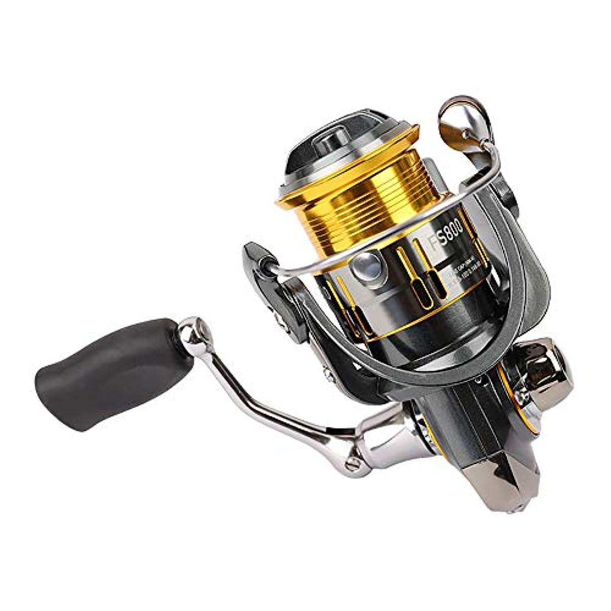 チップそれら叱る釣り リール FS800 9 + 1BBフロントドラグ大きな固定スプールはリールショア、ビーチ鋳造およびボート釣りスピニング 携帯便利 軽量 (Color : Black, Size : FS800)