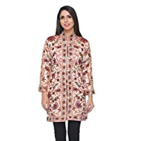 The MadhuSudan Gallery Kashmiri Women's Silk Coat Jacket Crewel Hand Embroidered Chinar Work