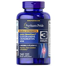 Puritan's Pride Double Strength Glucosamine, Chondroitin & MSM Joint Soother, Caplets, 240ct