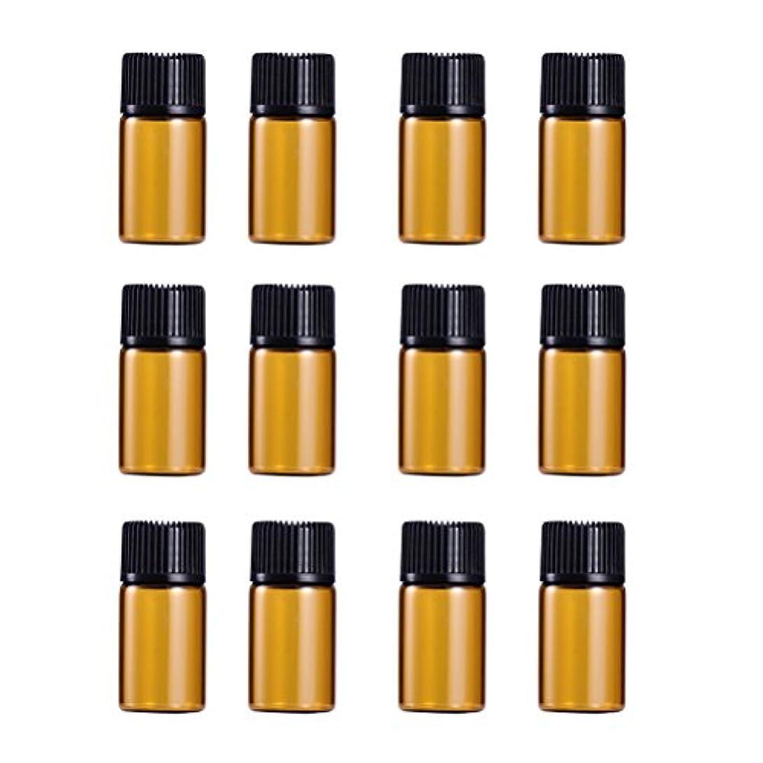 セーターよろめくWINOMO 遮光瓶 アロマオイル 精油 小分け用 遮光瓶セット アロマボトル 保存容器 エッセンシャルオイル 香水 保存用 詰替え ガラス 茶色(18個入り 3ml)