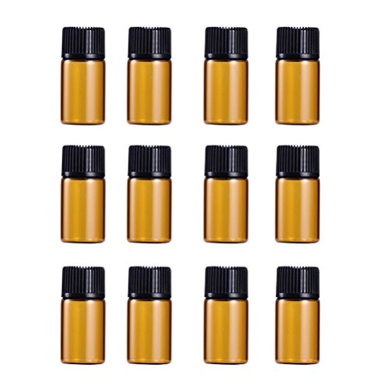 再撮りぶどう鼻WINOMO 遮光瓶 アロマオイル 精油 小分け用 遮光瓶セット アロマボトル 保存容器 エッセンシャルオイル 香水 保存用 詰替え ガラス 茶色(18個入り 3ml)