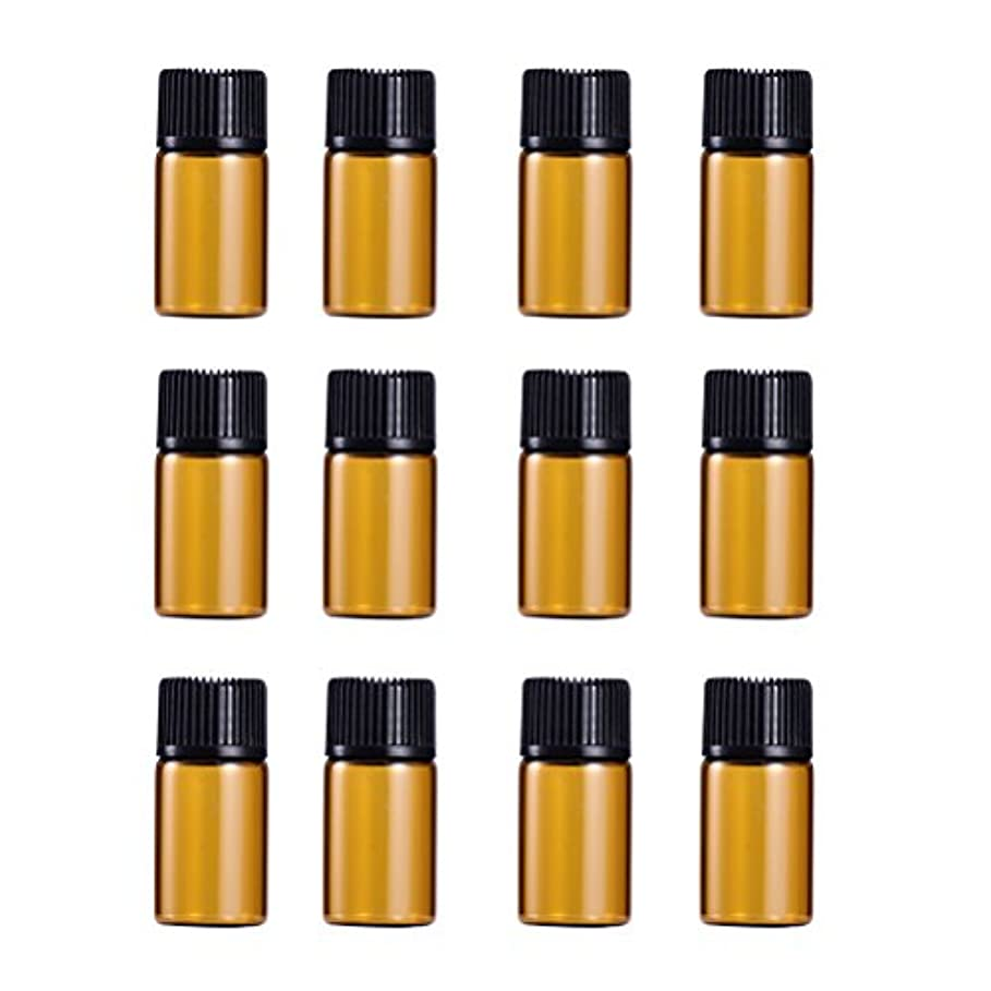 側ボーダー事実上WINOMO 遮光瓶 アロマオイル 精油 小分け用 遮光瓶セット アロマボトル 保存容器 エッセンシャルオイル 香水 保存用 詰替え ガラス 茶色(18個入り 3ml)