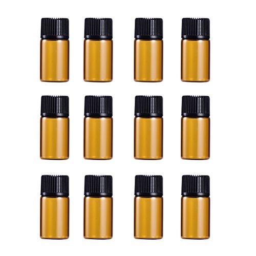 WINOMO 遮光瓶 アロマオイル 精油 小分け用 遮光瓶セット アロマボトル 保存容器 エッセンシャルオイル 香水 保存用 詰替え ガラス 茶色(18個入り 3ml)