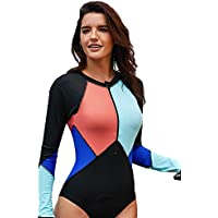 Minqi Women Long Sleeve Rash Guard Wetsuit UV Protection Printed Surfing One Piece Swimsuit Swimwear Bathing Suit