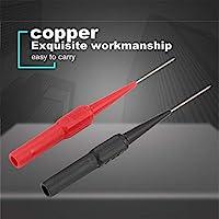 2 PCS銅テストリードプローブステンレス鋼0.7 mm針4 mmジャック絶縁ピアス針用マルチメーターツールブラック/レッド