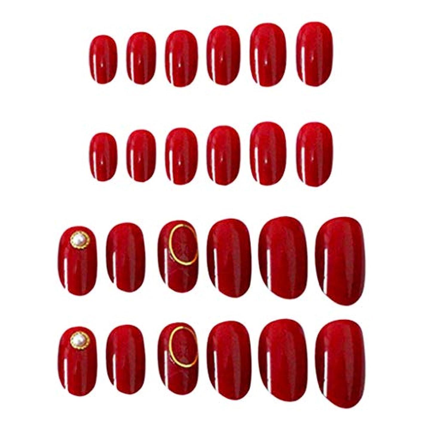 油マトリックスおとこ24枚入 ネイルチップ 短い ショート オーバル 夢幻 無地 透明 ゼリーネイルチップ 全5色 - 赤