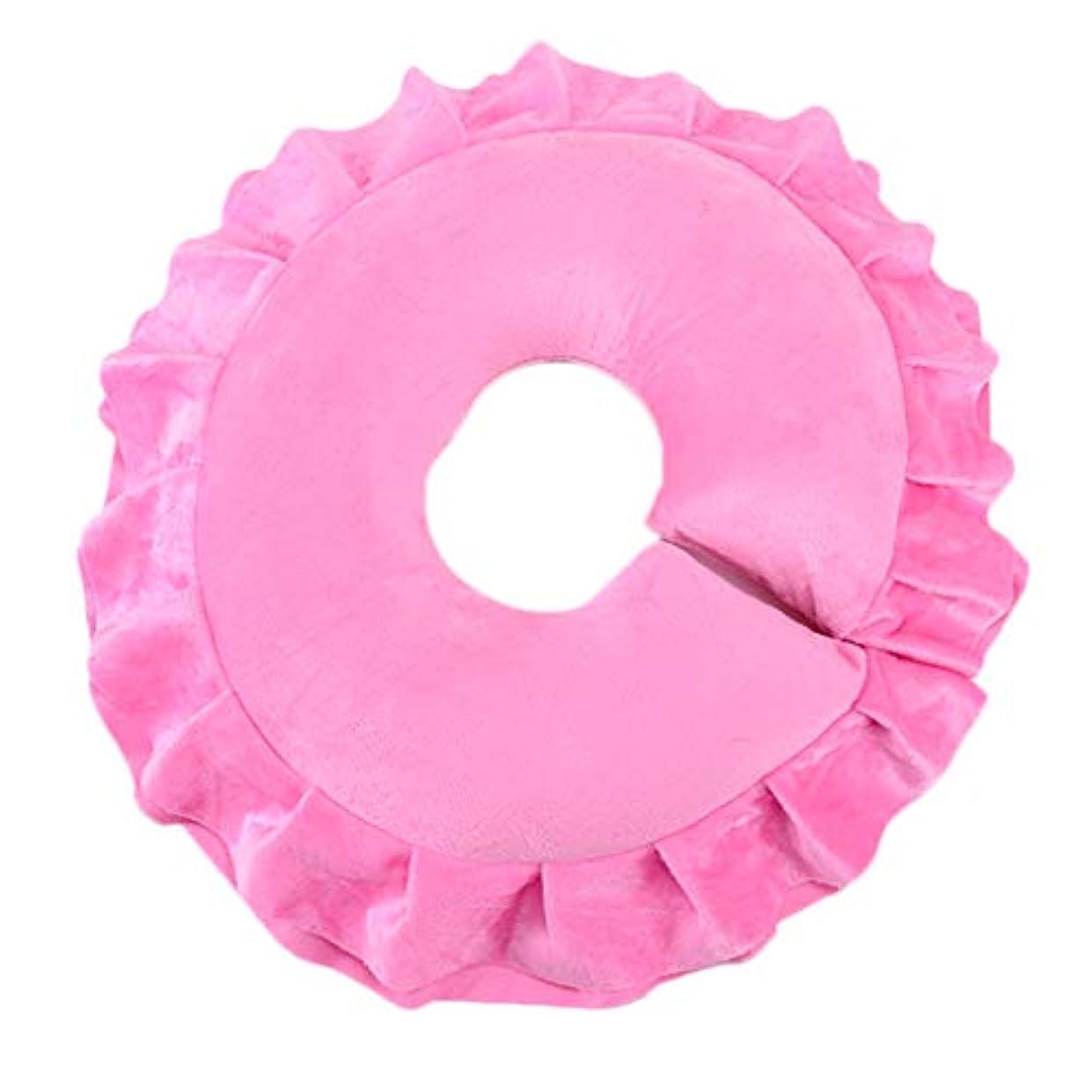 分析名門温室フェイスクッション 顔枕 マッサージ用 マッサージピロー ボディマッサージ サロン 全4色 - ピンク