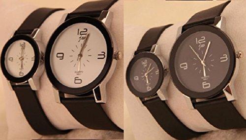 2本セットでこの価格 人気ペアウォッチ ユニセックス クォーツ時計 さりげなくカップルを演出 シンプルだからフォーマルなファッションにも合う (黒盤大 & 黒盤小)