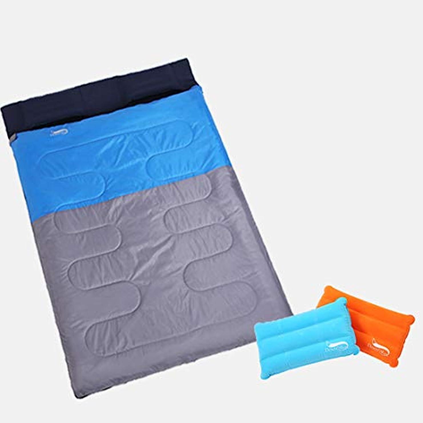 聡明十分に追放するLilyAngel ツインスリーピングバッグ、ピローアウトドアトラベル4シーズンライナーキャンプコットンワイドと厚い寝袋/ブルー
