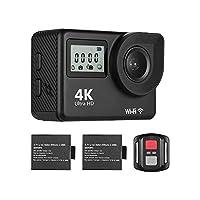 Docooler アクションカメラ 4K HD WiFi 18MP 170°広角度 2.0インチLCDタッチスクリーン 30M防水 2個リチウムイオン電池付き