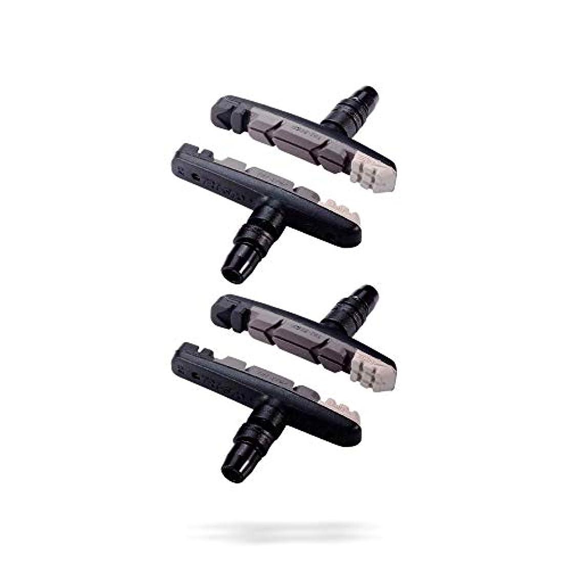 水っぽい器用兵器庫BBB 自転車 ブレーキシューセット Vブレーキ用 トライストップ トリプルコンパウンド 4個入り BBS-16T グレー 205067