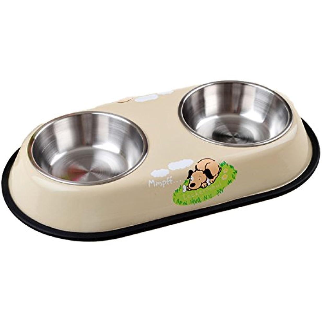 ??????(Dobeans)ワンちゃん食器餌入れ フード ボウル犬猫用食器餌やり水やり用品スタンド付きステンレス製 (ベージュ)