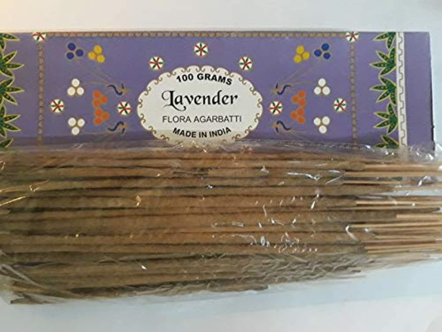 産地エキス専制Lavender ラベンダー Agarbatti Incense Sticks 線香 100 grams Flora Incense Agarbatti フローラ