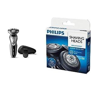[セット販売]フィリップス 5000シリーズ メンズ 電気シェーバー 27枚刃 回転式 お風呂剃り & 丸洗い可 トリマー付 S5397/12 + フィリップス 5000シリーズ用替刃 SH50/51