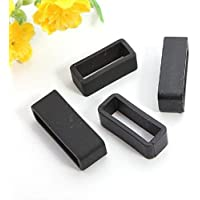 IndiansTradition 2x - 22mm Black Rubber Replacement Keeper Watch Band/Strap Loop for Men Women
