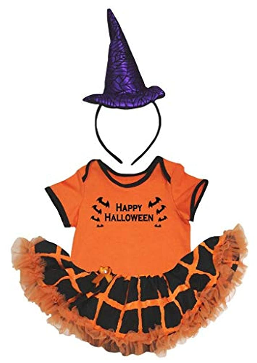 アラバマ完全に乾くおもてなし[キッズコーナー] ハロウィン Happy Hallowen オレンジ 格子 ボディスーツ、子供のチュチュ、ベビー服、女の子のワンピースドレス Nb-18m (オレンジ, X-Large) [並行輸入品]