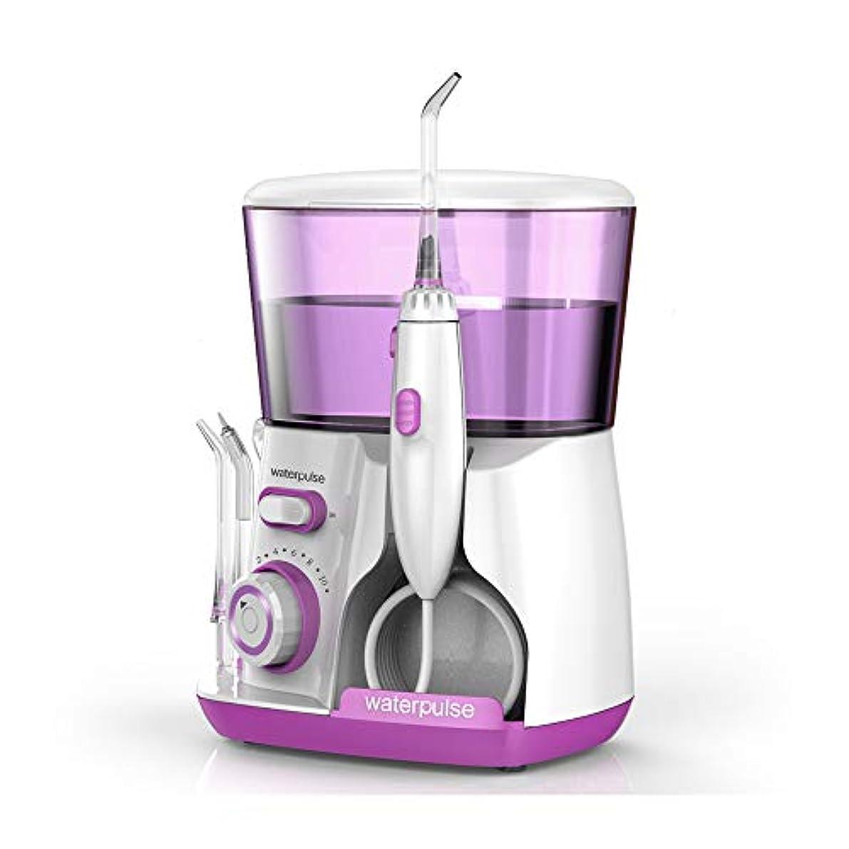 暖かさペダルパテLoboo Idea V300 赤い歯洗濯機水フロスデンタルクリーナー口腔洗浄器、自由に調整可能な10種類の歯車、5種類のノズルを含む、歯の清掃が360度容易、あなたの歯のニーズを満たすために (V300R, 紫色)