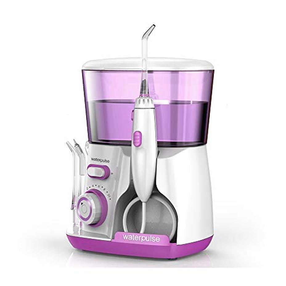 スキップ差アコードLoboo Idea V300 赤い歯洗濯機水フロスデンタルクリーナー口腔洗浄器、自由に調整可能な10種類の歯車、5種類のノズルを含む、歯の清掃が360度容易、あなたの歯のニーズを満たすために (V300R, 紫色)