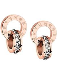 ローマ数字 サークル スワロフスキー クリスタル リング ピアス 18金 ピンクゴールド仕上げ イヤリング ステンレス ジュエリー レディース Pink Gold 耳元