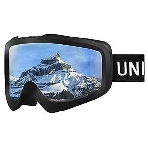Unigear スキーゴーグル ダブルレンズ 曇り止め スキー ゴーグル スノーボードゴーグル 100%UVカット フィット感がいい スノーゴーグル 9色 雪山やスキーなど用 大人 青少年 男女兼用 Skido X1(③シルバーグレーレンズ VLT16.13%)