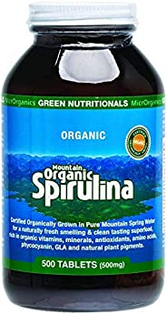 Green Nutritionals Mountain Organic 500 mg Spirulina 500 Tablets, 500 count, Pack of 500