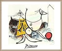 ポスター パブロ ピカソ Femme sur la Plage Jouant au Balloon 限定2000枚 額装品 ウッドベーシックフレーム(オフホワイト)