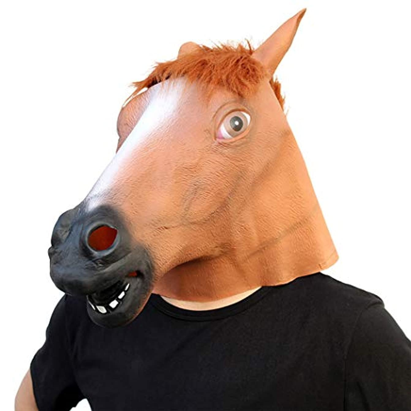 破壊的つば方言ハロウィーンのスタイリングの小道具ボールパーティーの馬の頭のマスクラテックスゲーム面白いパーティー用品