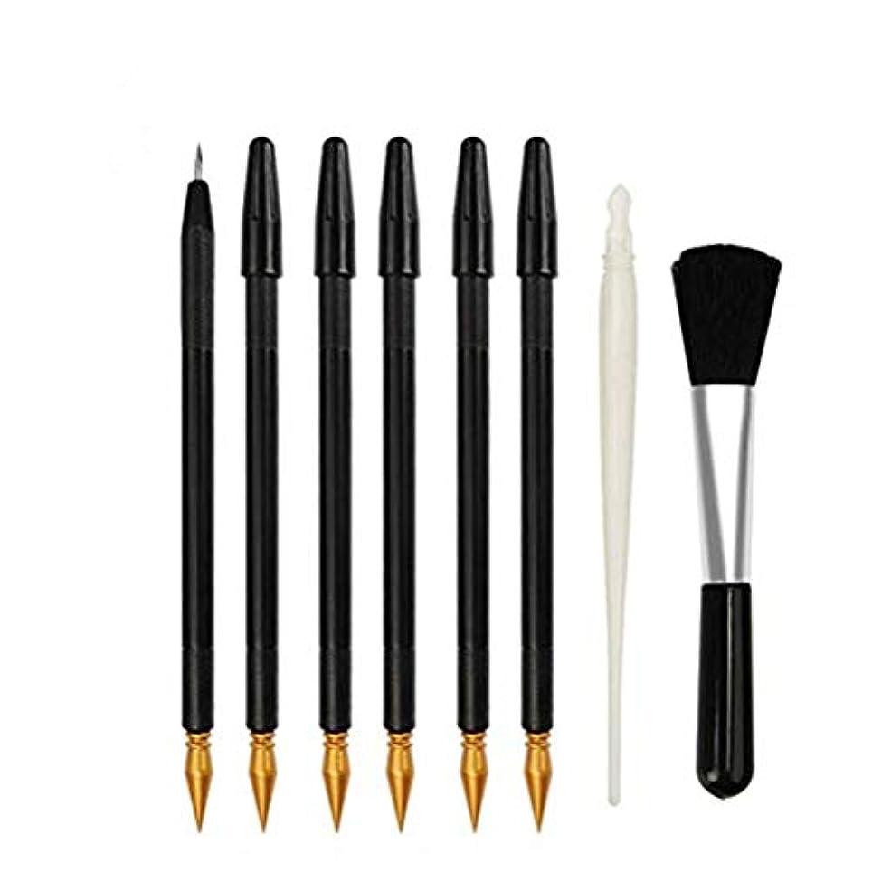 創始者木製イヤホンSUPVOX 8本のスクラッチアートツールスクラッチペーパーカラーペンとブラシ