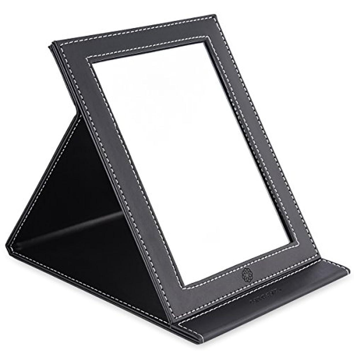 起きるトンインターネットamoore 化粧鏡 卓上スタンドミラー 折りたたみミラー PUレザー (ブラック)
